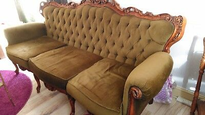 French vintage Louis XV style 3 seater sofa
