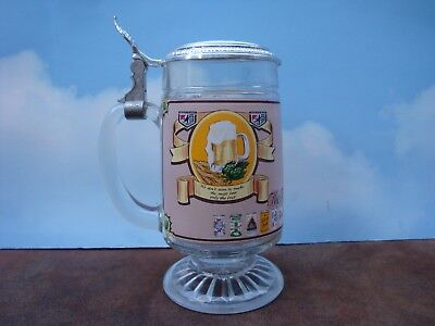 Heileman Beer Stein Glass Lidded Decorative Stein- G. Heileman Brewing Co. Rare
