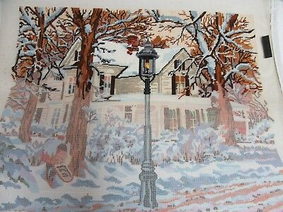 Needlepoint Canvas Only Winter Scene Candamar Designs 30550 Snow Lamp Post