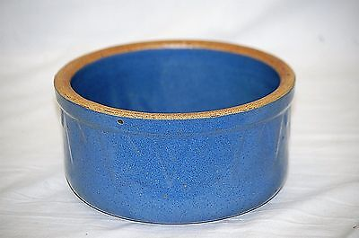 Old Vintage Stoneware Crock Pottery Blue Picket Fence Mixing Bowl Kitchen Tool
