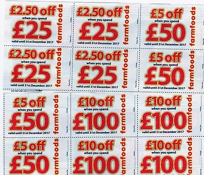 NEW FARMFOODS DISCOUNT VOUCHERS EXCEPTIONALLY LONG VALIDITY - 31st DECEMBER 2017