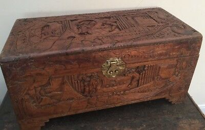 Vintage Antique Camphor Chinese Hand Carved Trunk Chest Blanket Box