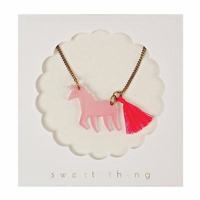 Meri Meri Pink Unicorn Tassel Necklace KIDS, cute girls jewellery, xmas gift