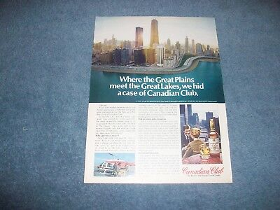 "1979 Canadian Club Whisky Vintage Chicago Skyline Ad ""Where the Great Plains..."""