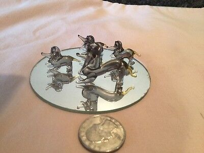 Set Of 4 Miniature Blown Glass Dachshund Dogs Family With Display Mirror  Gray