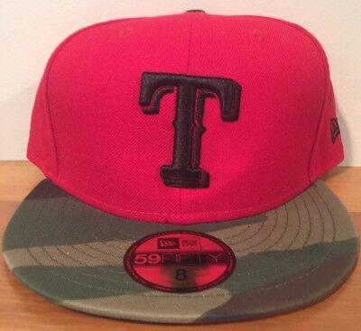 low priced 3aa6e 88d1b Texas Rangers Camo New Era 59FIFTY Hat Cap MLB Sz 8 Woodland Fitted