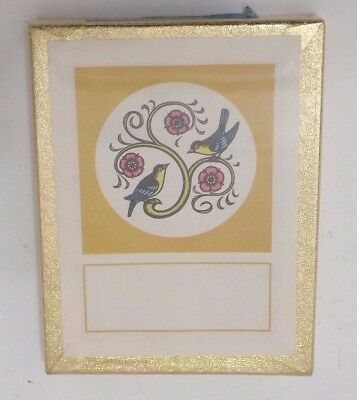 "Antioch Bookplate Company 50 Bookplates Yellow White Flowers & Birds 3 x 4""    O"