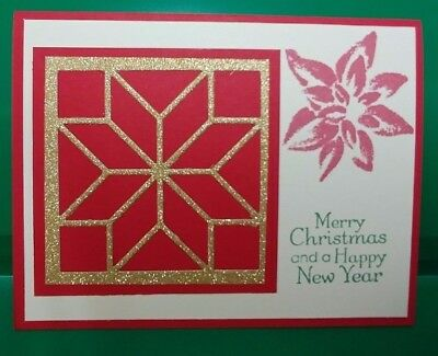 Stampin' Up! Set of 6 Red Gold Cream Christmas Quilt Holiday Cards w/ Envelopes