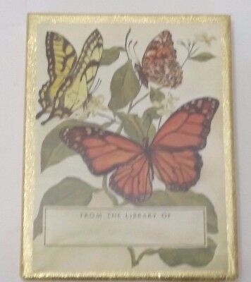 "Antioch Bookplate Company 50 Bookplates Butterflies & Leaves - Sealed 3 x 4""   O"