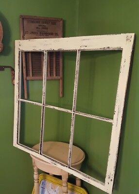 SASH ANTIQUE WOOD WINDOW PICTURE FRAME PINTEREST WEDDING 6 PANE NO GLASS 34x31