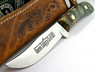 Queen USA Sabre Clip Point Hunter D2 Steel Spalted Maple Burl Hdl Knife 4185SMB