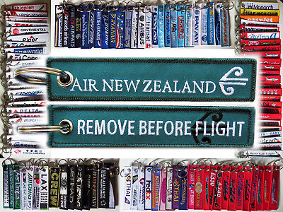 Keyring AIR NEW ZEALAND Remove Before Flight keychain tag Crew Pilot - GREEN -