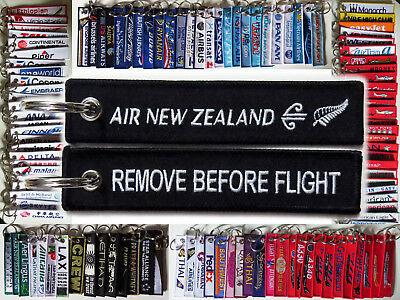 Keyring AIR NEW ZEALAND Remove Before Flight keychain tag Crew Pilot - BLACK -