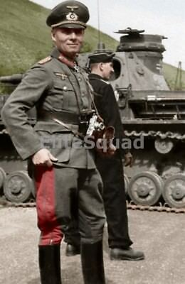 WW2 Photo Major General Erwin Rommel and Panzer IV (Nº321) France May 1940 #437