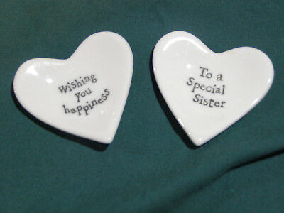 "2 Small Ceramic Heart Trivets ""Wishing you happiness"" & ""To a special sister"""