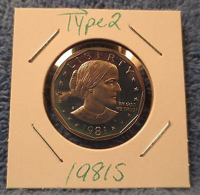 """1981-S Type 2 Cameo Proof Susan B. Anthony dollar. Type 2 Flat-Clear """"S""""."""