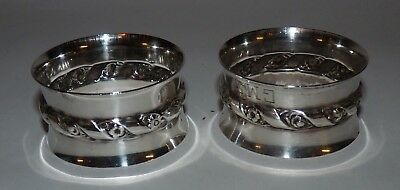 Two Wallace Sterling Silver Napkin Rings, Floral Band, Mongrammed, 54 Grams.