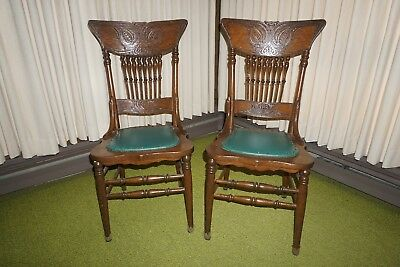 Pair of Vintage Ornate Carved Wood High Back Spindle Chairs