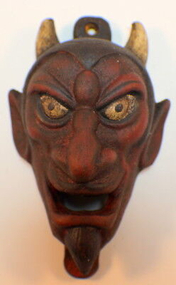 Cast Iron Bottle Opener Devil Face Antique Patina