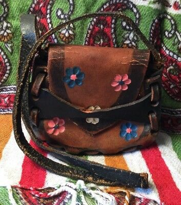 Vintage Festival Boho Tooled Leather Rustic Strap Small Shoulder Bag Purse