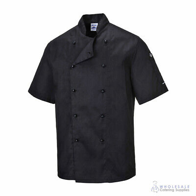 Chef Jacket Coat Short Sleeve Black Hospitality Uniform Cook Portwest XS