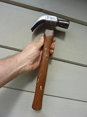"Old 1"" Claw Hammer Vintage Tool Timber Handle 25 ounce"