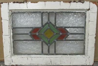 "OLD ENGLISH LEADED STAINED GLASS WINDOW Cute Geometric 18.25"" x 13"""