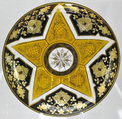 Antique Austrian Cut and Enameled Blue and Gold Glass Bowl 1890