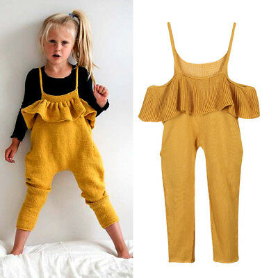 US Stock Sweater Off Shoulder Jumpsuit Toddler Kid Girls Knitted Clothing Romper