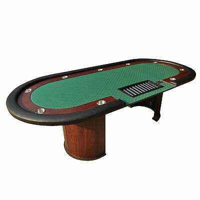 """96"""" Classic Luna Poker Table Green Speed Cloth Racetrack Chip Tray Drop Box"""