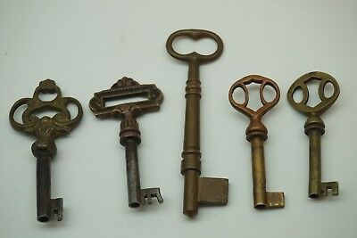 Antique Skeleton Key Lot 5 Old Brass Ornate Hollow Solid Barrel Chest Box Lock