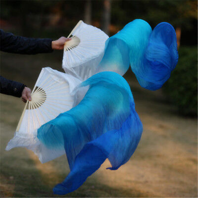 1.8M 100% Real Silk Veils Belly Dance Fans Stage Props White/Sky Blue/Blue L+R