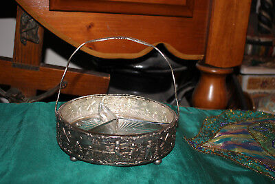 Vintage Repousse Holland Dutch Silver Metal Divided Candy Dish W/Handle-Windmill