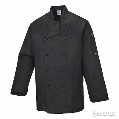 Chef Jacket Coat Long Sleeve Black Hospitality Uniform Cook Kitchen Portwest S