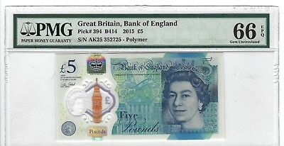 P-394  2015 5 Pounds, Bank of England, Great Britain, PMG 66EPQ