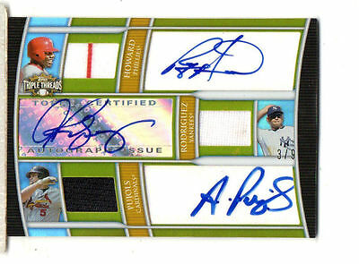 2010 Topps Triple Threads Autograph Relic Combos Gold pujol /A-rod howard # 3/9