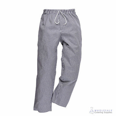 Chef Pants Navy & White Check Hospitality Cook Trousers Baggys Portwest S