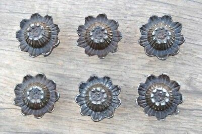 Vintage Victorian Floral Cast Iron cabinet drawer door Knobs handles pull rustic