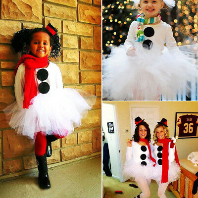 AUSeller Christmas Toddler Kids Girl Snowman Tops Tulle Tutu Party Dress Outfits