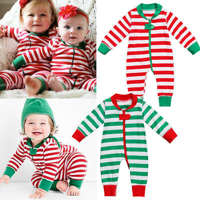 AUSeller Christmas Newborn Baby Boy Girl Stripe Romper Jumpsuit Outfit Clothes