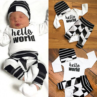 AUSeller Newborn Baby Boys Cotton Tops Romper Pants Hat Home Outfits Set Clothes