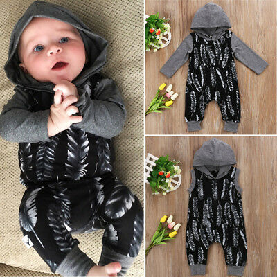 AUSeller Newborn Kids Baby Boys Feather Hooded Romper Jumpsuit Playsuit Outfits