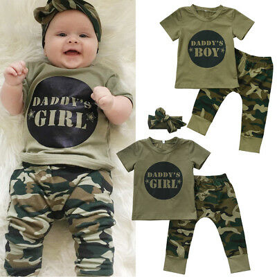 AUSeller Newborn Kids Baby Boys Girls Camo T-shirt Tops Pants Outfit Set Clothes