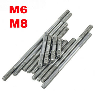 2/5/10PCS 6mm M6 & 8mm M8 Stainless Steel Double End Threaded Stud Bolts Screws