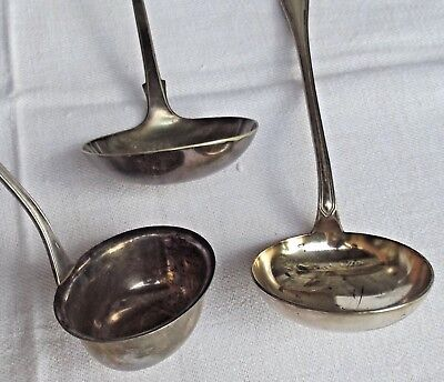 Lot of 3 Antique French Ladles Serving Spoons  Silver hallmark Cutlery