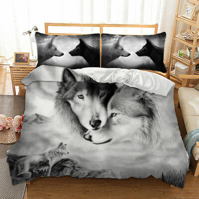 3D Animal Print Wolf Duvet Cover Pillow Cases Quilt Cover Bedding Set All Sizes
