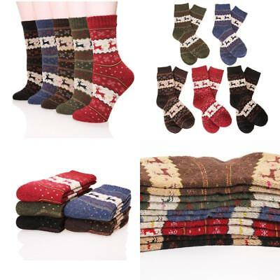 Women's Hot Warm Wool Christmas Socks Thickened Crew-cut Gift for Winter 5 Pairs