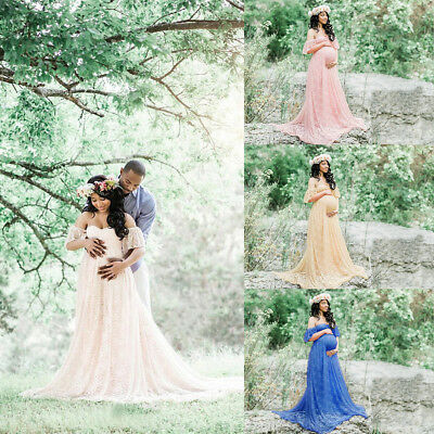 Off Shoulder Lace Gown Maternity Maxi Dress Wedding Party Dress Photography Prop