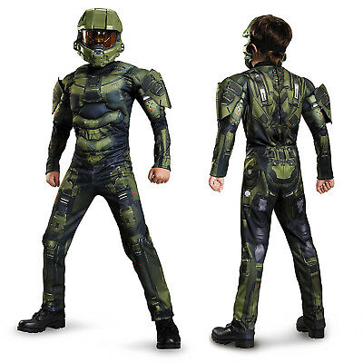 Childs Boys Deluxe Halo Master Chief War Halloween Fancy Dress Party Costume