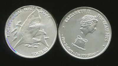 TOKELAU 5 DOLLAR SILVER 1 oz. MOKOHA GREAT WHITE SHARK COIN UNC